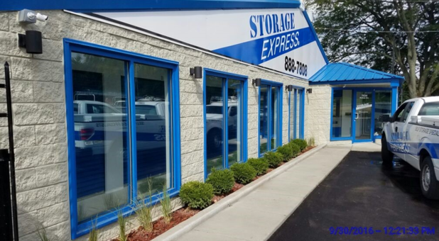 Front of clean, well-kept storage facility