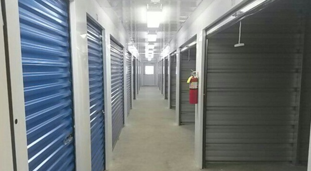 Hallway of indoor storage units