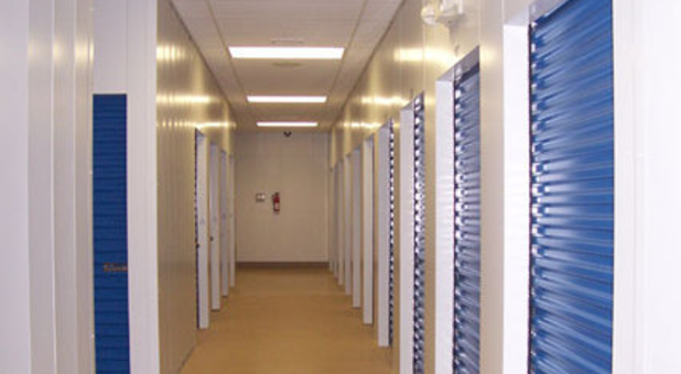 Row of indoor storage units