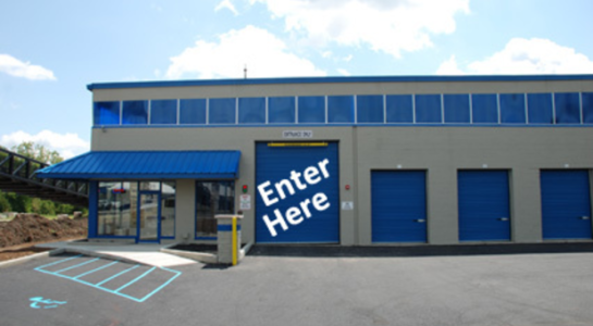 Drive-through entrance of storage facility