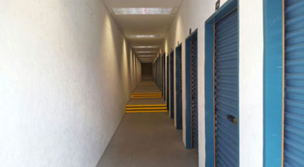 Rows of indoor, climate-controlled storage units