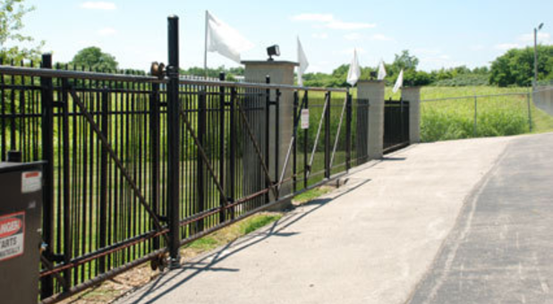 Gated entrance to self storage facility