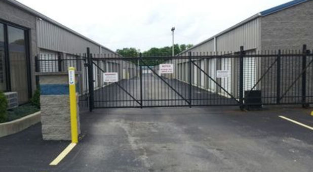 Secure gated entrance to storage facility