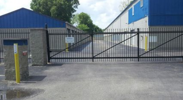Gated entrance to storage facility