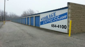 Outdoor storage building with sign that says storageexpress.com 654-4100