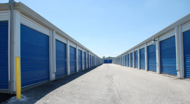 Rows of storage units with drive-up access