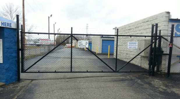 Entrance gate to storage facility