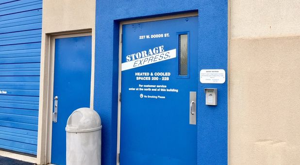 Storage Express entrance with keypad