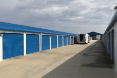 Row of outdoor storage units