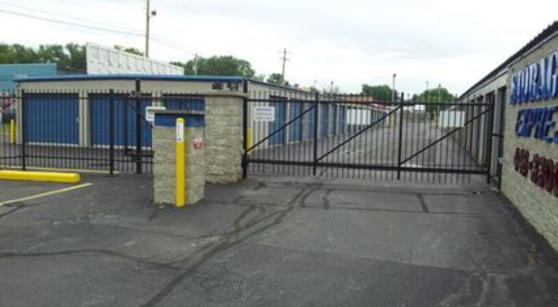 Gate and keypad to storage facility