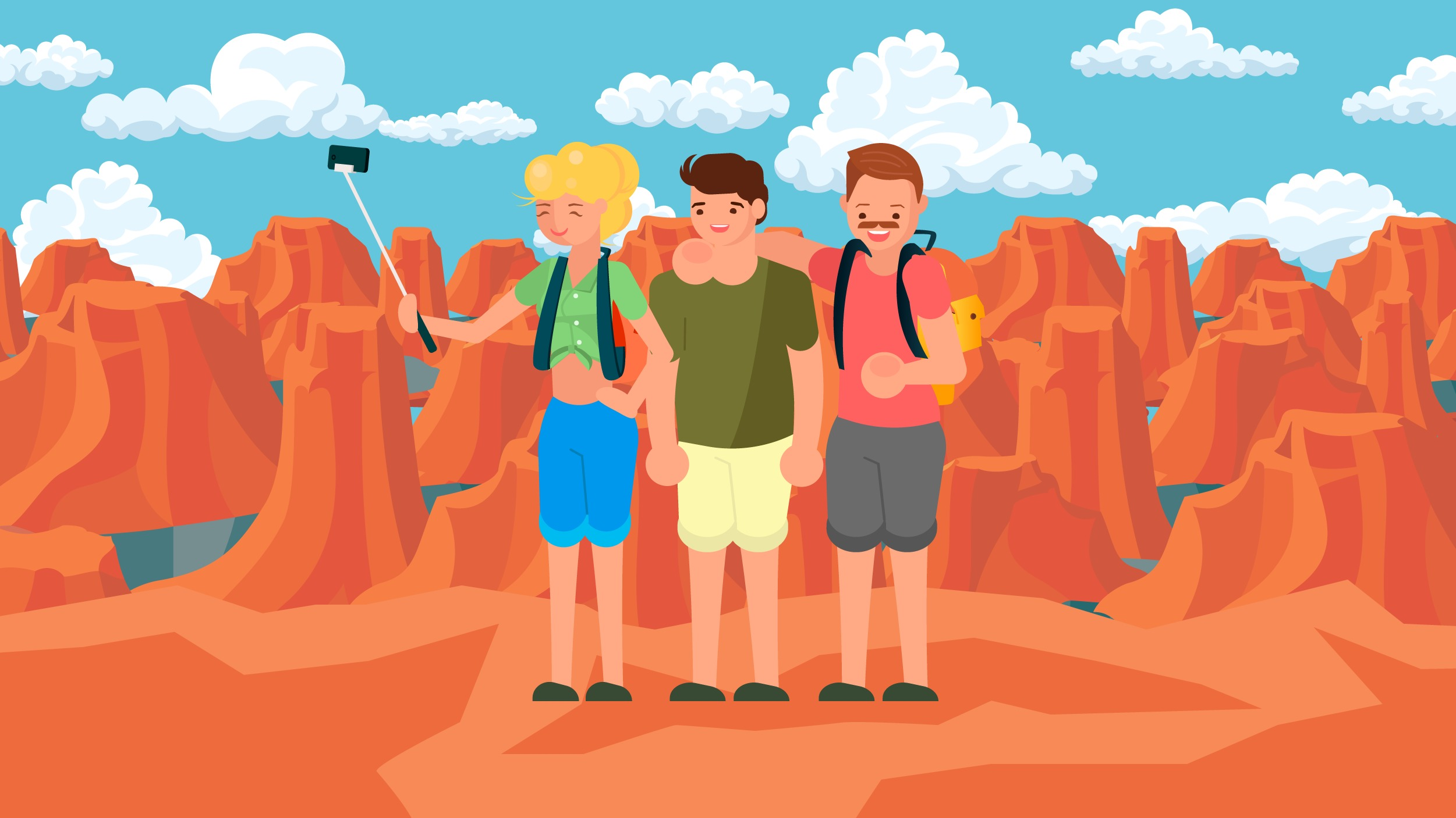 Illustration of family taking selfie at the Grand Canyon.
