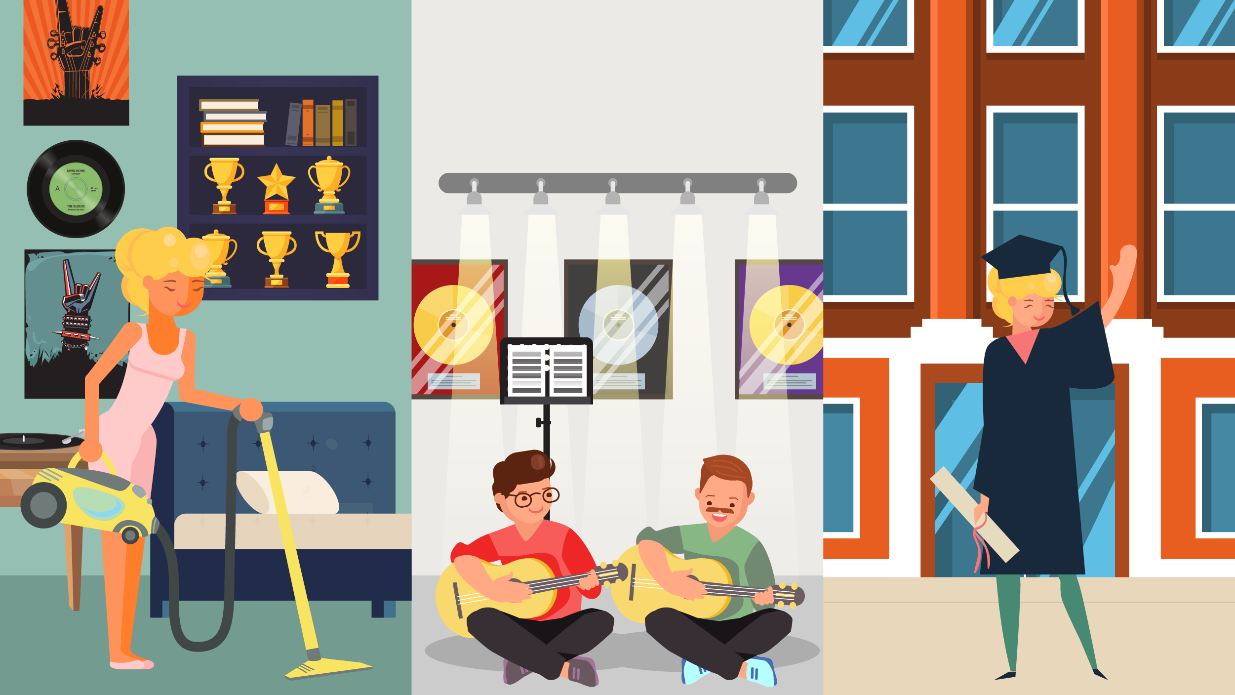 Three part illustration featuring mother redecorating child's bedroom, father taking guitar lessons, and mother graduating college.